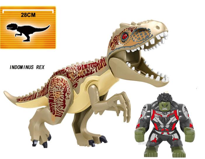 Динозавр Индоминус Длина 29 см с большой фигуркой Халка аналог Лего Конструктор