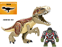 Динозавр Индоминус Длина 29 см с большой фигуркой Халка аналог Лего Конструктор, фото 1