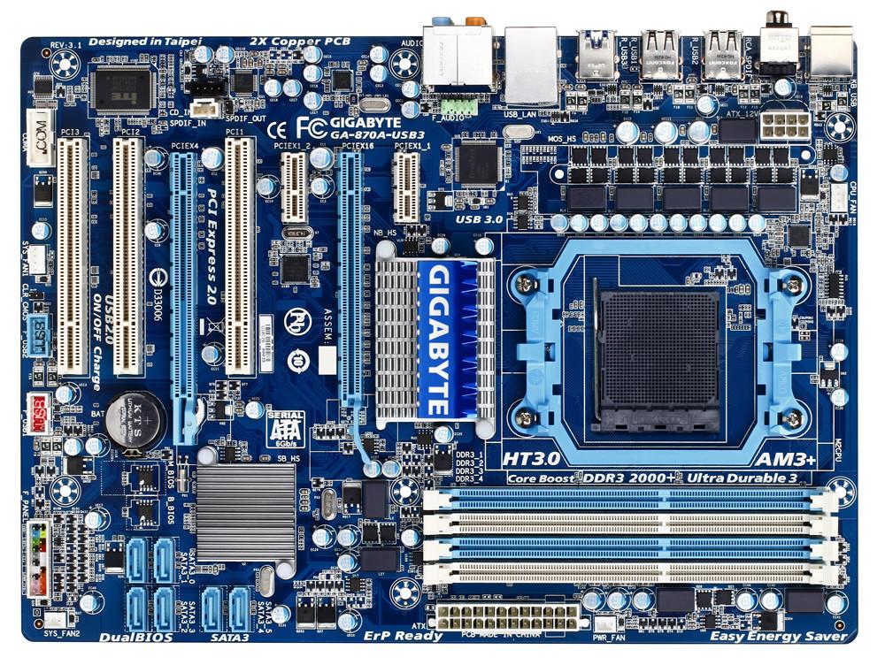 Материнская плата, GIGABYTE GA-870A-USB3, процессор AMD Athlon II, сокет AM3