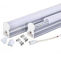 LED светильник линейный LEBRON L-T5-AL, 300мм, 4W, 4100K, 400Lm алюминий (кабель с вилкой) разъем 3-pin с/з