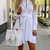 Платье - рубашка женская  из хлопка с поясом Белая