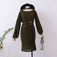 Платье женское из бархата One Size Темно-зеленое