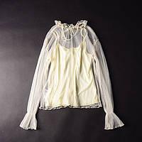 Блузка женская в комплекте с маечкой, украшение из камней бежевая One Size Молочная