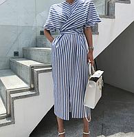 Женское полосатое Платье оригинальный крой M Бело-голубое