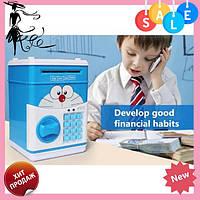 """Копилка электронная сейф """"CAT"""" Doraemon, банкомат для денег с пин-кодом   детский электросейф с кодовым замком, фото 1"""
