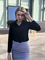 Женская белая Блуза черная из крепшифона