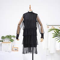 Нарядное женское Платье черное из мягкого воздушного фатина