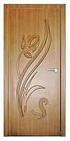 Дверь межкомнатная Тюльпан ПГ (шоколадный орех, дуб золотой), фото 1