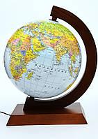 Глобус Физико-политический Glowala 320мм в деревянной оправе с подсветкой 3в1 РУС