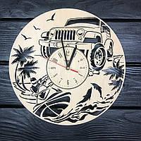 Мужские дизайнерские настенные часы из дерева, фото 1