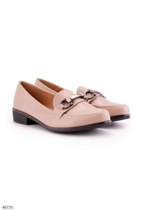 Женские туфли / лоферы бежевые эко- кожа