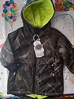 Куртка для мальчика парка с манжетами демисезонная, хаки и салатовый, возраст 1-5 лет.