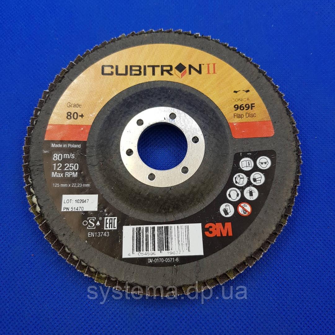 Пелюстковий круг 969F 125х22 мм, P80, конічний - 3M 51470 CUBITRON II