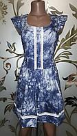 Женское короткое платье, джинсовое, синее, S