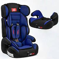 Автокресло универсальное в машину для детей JOY E 1405 цвет чёрно-синий, группа I/II/III, 9-36 кг
