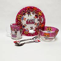 Детский набор стеклянной посуды для кормления Лол (Lol) фиолетовый 5 предметов Metr+