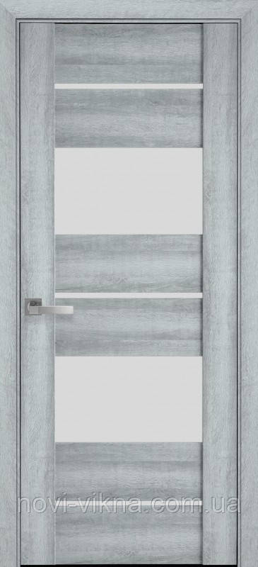 Дверь межкомнатная АСКОНА Бук Кашемир 900 мм со стеклом сатин (матовое), ПВХ Viva.