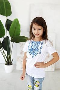 Вишита футболка з узорами для дівчинки