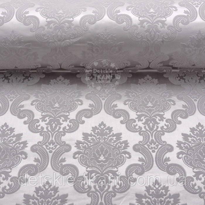Отрез ткани жаккард шенилл пике с крупным узором, цвет серый (№2372), размер 40*240 см