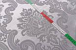 Отрез ткани жаккард шенилл пике с крупным узором, цвет серый (№2372), размер 40*240 см, фото 2