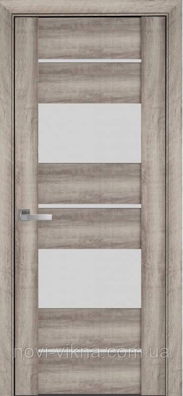 Дверь межкомнатная АСКОНА Бук Баварский 600 мм со стеклом сатин (матовое), ПВХ Viva.