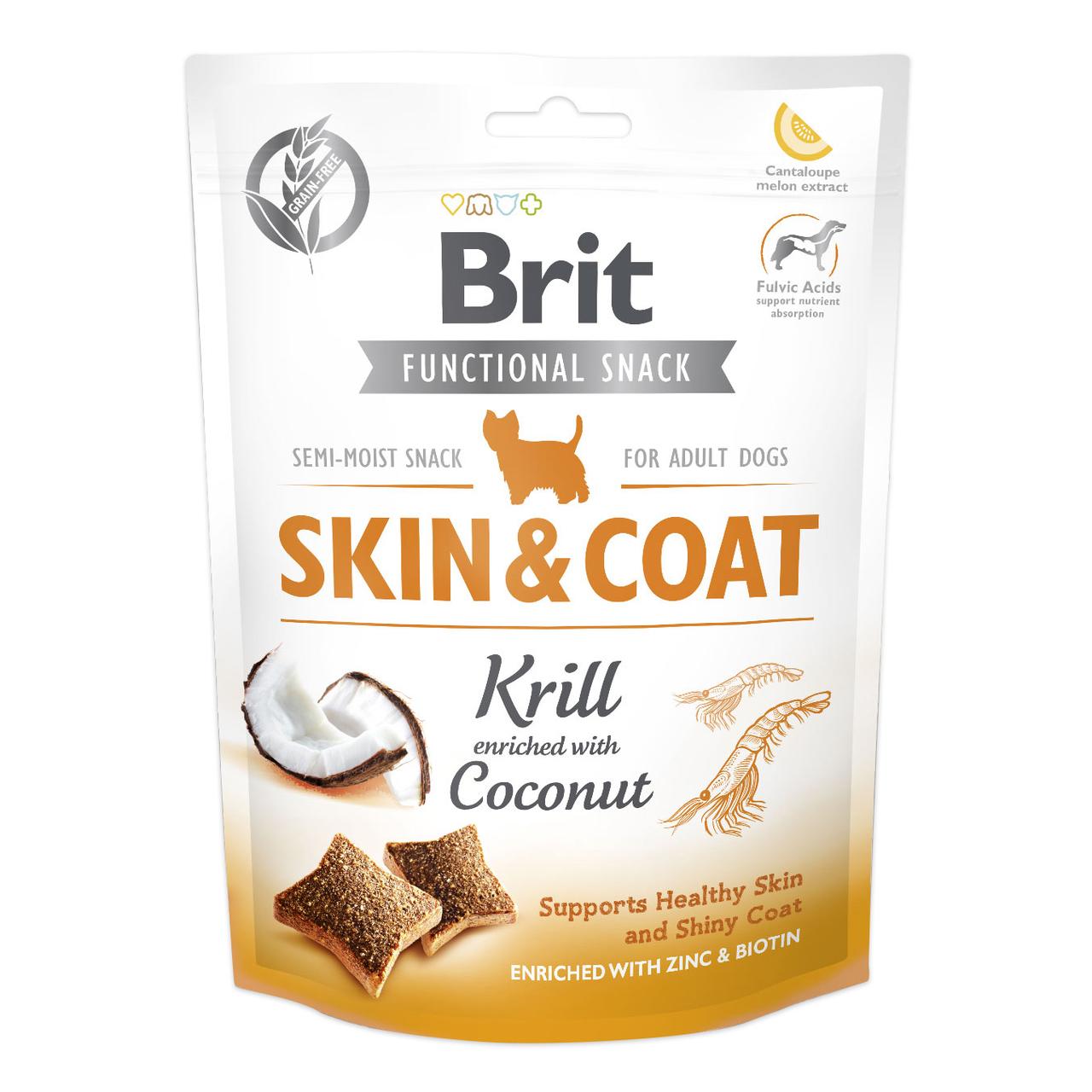 Функциональные лакомства Brit Functional Snack Skin & Coat 150 г (для кожи и шерсти)