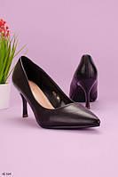 Женские туфли лодочки черные на каблуке 8,5 см эко кожа, фото 1