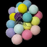 Гірлянда різнобарвна нитяна для дитячого куточка (20 ліхтариків, 3,5 м.)