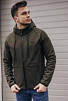 Мужская куртка Puma Soft Shell весенняя ветровка (хаки) В5