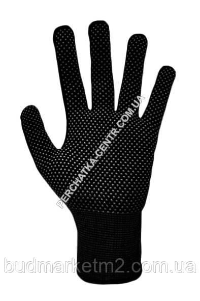 Перчатки синтетические с ПВХ точкой черные