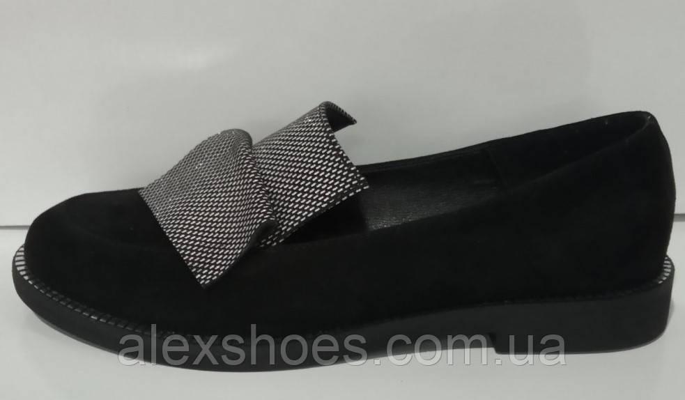 Туфли женские на низком ходу из натуральной замши от производителя модель КС2002-3