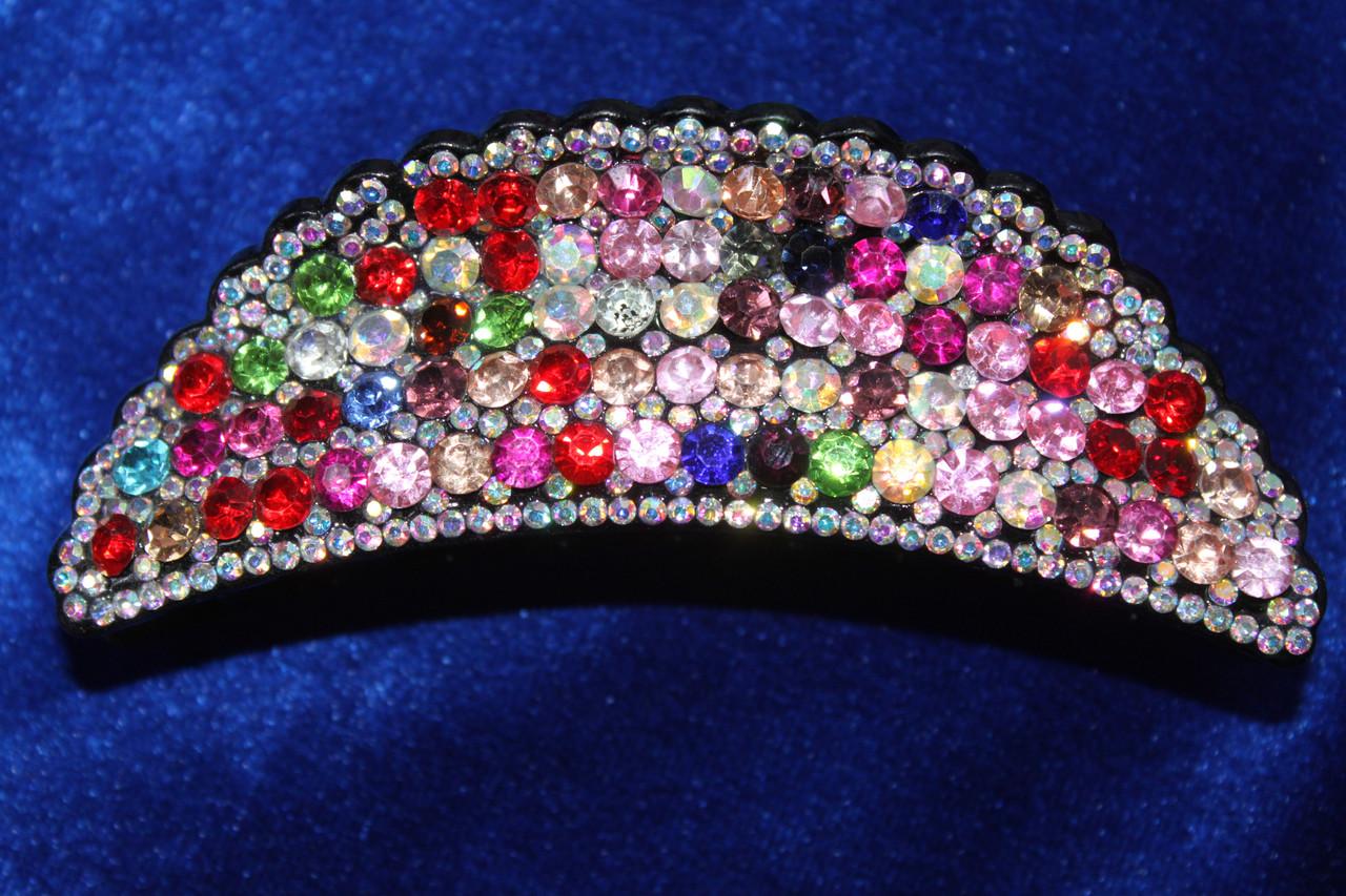 Оригинальная заколка краб украшен разноцветными камнями 12 см