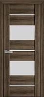 Дверь межкомнатная АСКОНА Бук Табачный 600 мм со стеклом сатин (матовое), ПВХ Viva.
