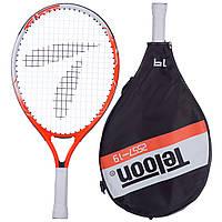 Ракетка для большого тенниса TELOON, алюминий, длина-48см, красный (2557-19)