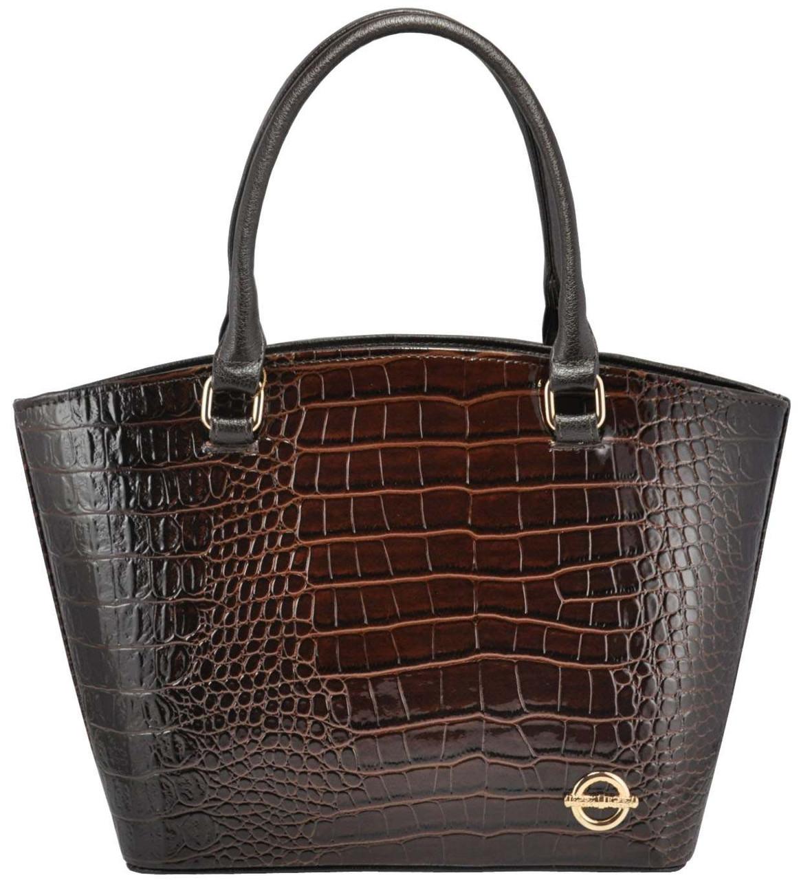 Женская сумка 35224 крокодил коричневая