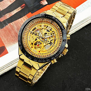 Часы мужские механические Winner 8067 Gold-Black-Gold Red Cristal AB-1099-00014