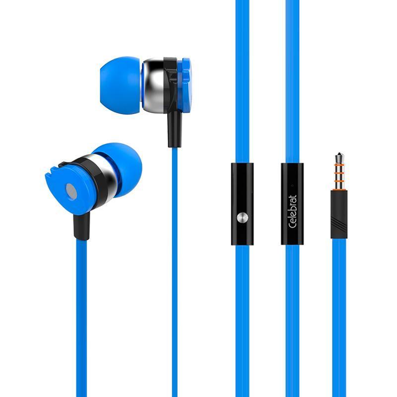 Наушники MP3 Celebrat D1 Blue + mic + button call answering