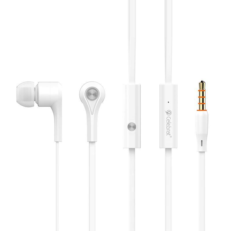 Наушники MP3 Celebrat D3 White + mic + button call answering