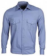 Форменная рубашка длинный рукав синяя для ДСНС меланж