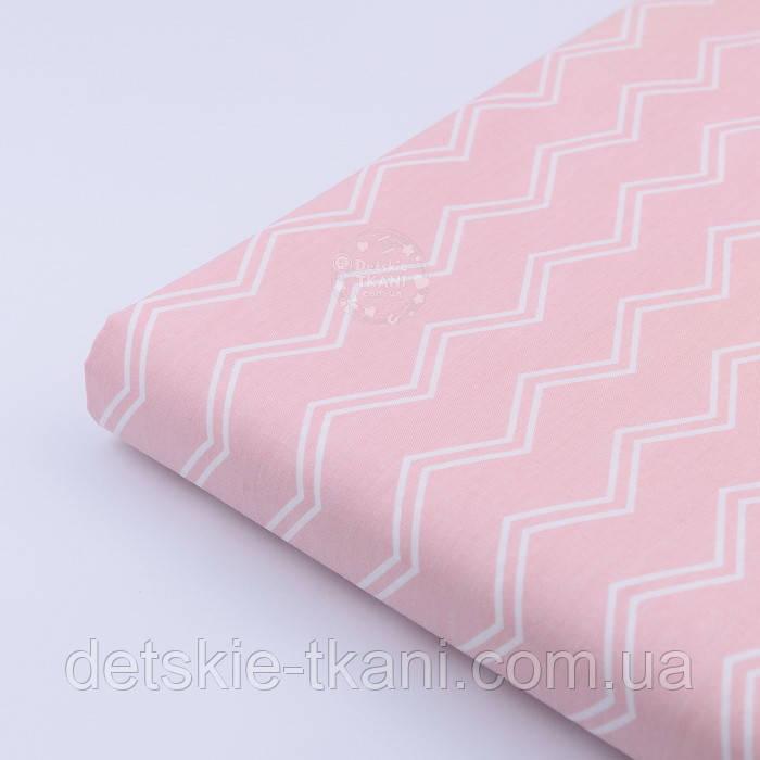 """Лоскут сатина """"Двойной тонкий зигзаг"""" на розовом, №2137с, размер 23*160"""