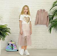 Платье футболка белое с фатином с сердцем пайетка 134-176