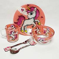 Детский набор стеклянной посуды для кормления Единорог розовый 5 предметов Metr+