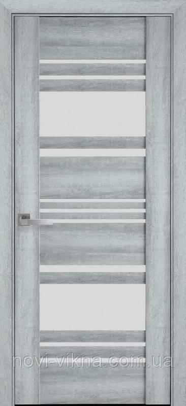 Дверь межкомнатная Ницца Бук Кашемир 600 мм со стеклом сатин (матовое), ПВХ Viva.