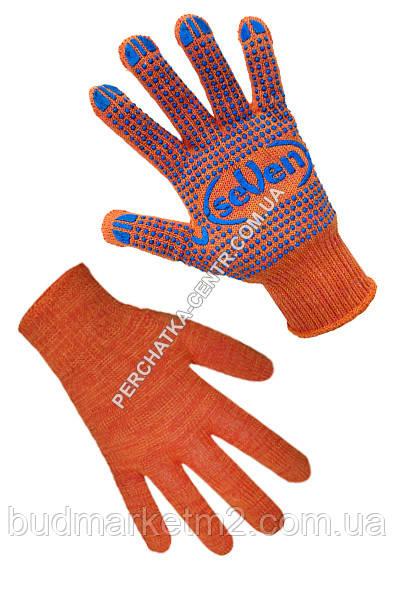 Перчатки трикотажные оранжевые с ПВХ точкой 78412