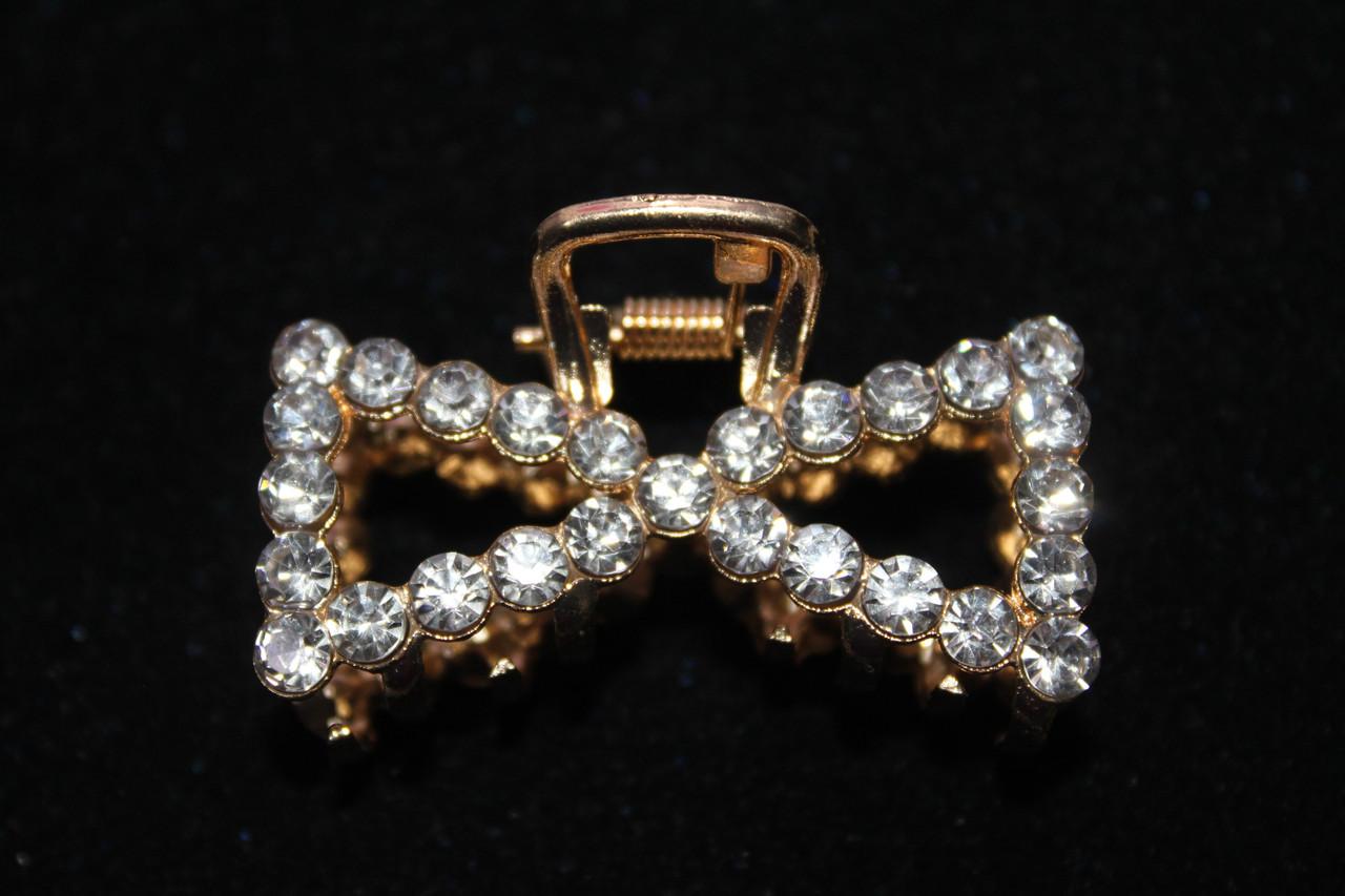 Изысканная заколка краб металлический украшен камнями 5 см золотистый