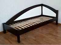 Угловая деревянная кровать-тахта Радуга Премиум с мягкой спинкой