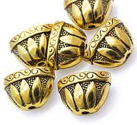 Колпачок концевик Плоский металлический золото античное 14х20х12 мм