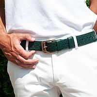 Кожаный качественный зеленый ремень с тисненым орнаментом, фото 1