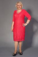 Женственное коралловое платье большого размера