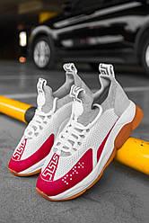 Женские кроссовки Versace Cross Chainer White/Red (бело-красные)